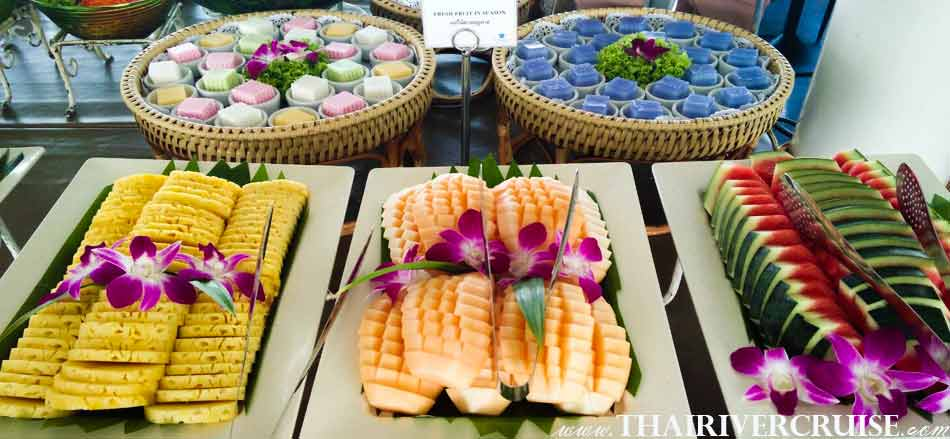 Thai Deserts and Season Fruits on Board, White Orchid River Cruise Ayutthaya