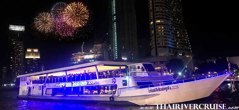 Celebrating New Year  by White Orchid River Cruise 4 on Chaophraya River Bangkok Thailand