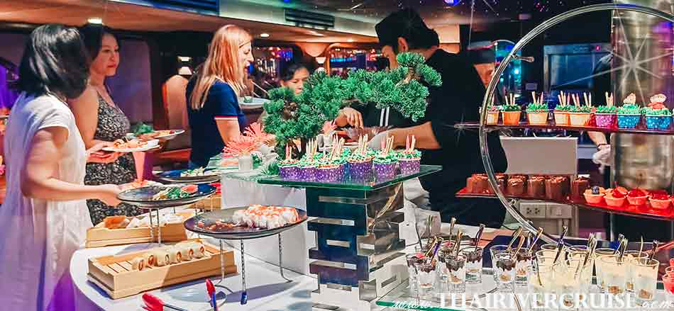 Our elegant buffet on top deck of Wonderful Pearl Cruise with serves up   European, Japanese, Thai  and international cuisine