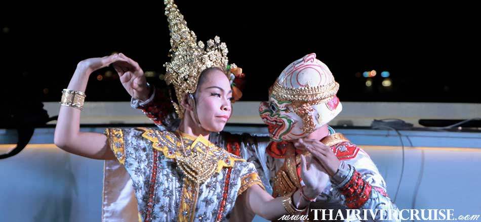 Enjoy to see the show of Masked dance-drama performance of Ramakien. Supanna Matcha is the daughter of a fish and Thotsakan. She has the form of a mermaid and rules the ocean as queen of the fish kingdom. Under the order of Phra Ram, Hanuman – the white monkey, came to pursuit Supanna Matcha and wins her over after an intensive courtship. This is Amazing Thai traditional show on board Wonderful Pearl Cruise .