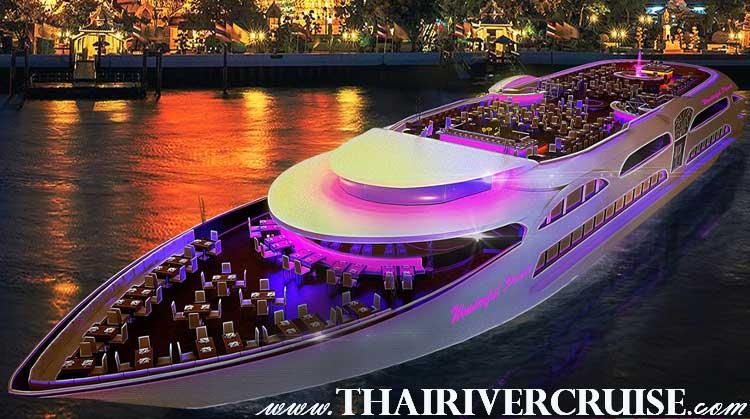 อัครเรือสำราญ แม่น้ำเจ้าพระยา หรูหรา ระดับ 5 ดาว ขนาดใหญ่ ของ แม่น้ำเจ้าพระยาดินเนอร์ เจ้าพระยา วันเดอร์ฟูลเพิร์ลครุยส์