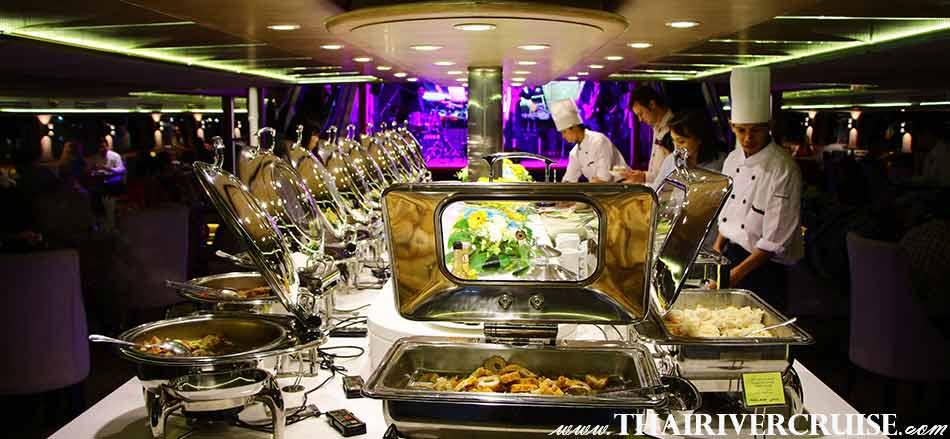 บุฟเฟ่ท์นานาชาติ หรู ในสไตล์ ไทย จีน ฝรั่ง และ ญี่ปุ่น บนเรือสำราญ เจ้าพระยา วันเดอร์ฟูลเพิร์ล ครูซ