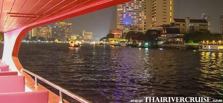 สัมผัสทัศนียภาพ ความงาม ของ แม่น้ำเจ้าพระยา สองฟากฝั่ง โรงแรมหรู 5 ดาว วัดวาอาราม ศาสนสถาน พระบรมหาราชวัง วัดพระแก้ว ฯลฯ