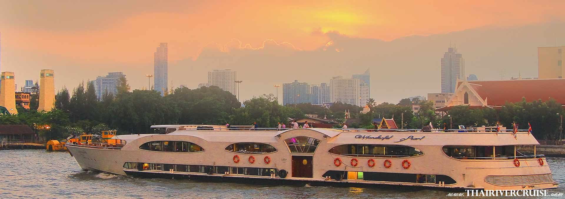 Wonderful Pearl Cruise, Bangkok Sunset Dinner Cruise Promotion Discount Cheap Ticket Price Offers