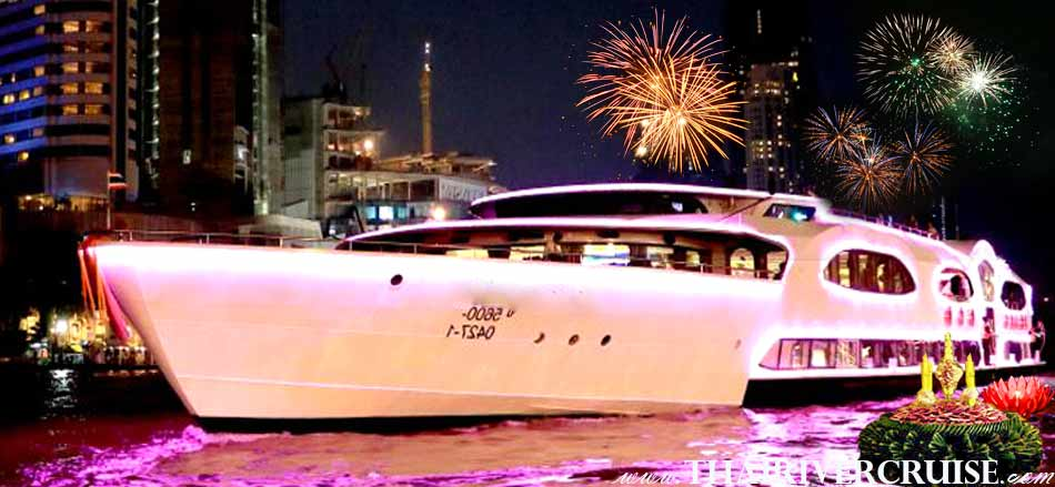 Welcome aboard Wonderful Pearl Cruise, luxury large elegance 5-stars Loykrathong dinner cruise Chaophraya river Bangkok Thailand