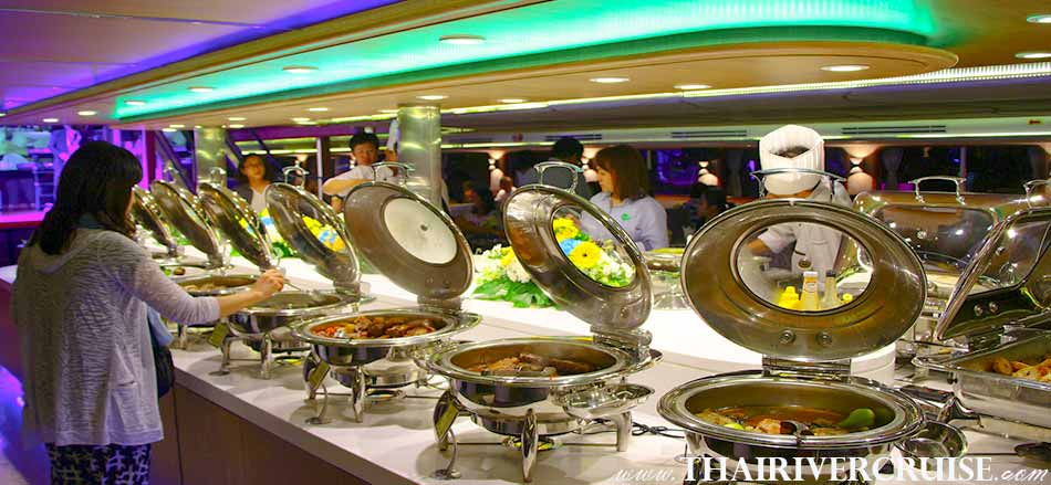 Wonderful Pearl Cruise Sunset Dinner Cruise Bangkok,Large elegant buffet on board of Wonderful Pearl Cruise with serves up as Buffet of European, Japanese, Thai  and international cuisine
