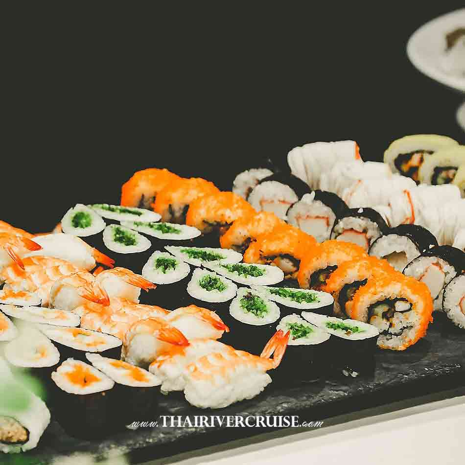 Wonderful Pearl Cruise Sunset Dinner Cruise Bangkok,Japanese sushi rice recipe buffet on Best Bangkok dinner cruise Wonderful Pearl Cruise luxury elegance river cruise 5-Star dinning Wonderful pearl cruise promotion booking discount lower price