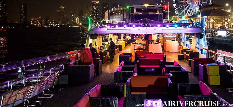 Best One Relaxing Boat Bangkok, Yod Siam Cruise, Best cocktails Chao Phraya river Cruise Yod Siam Boat sunset cruise cocktail Bangkok & night river Cruise including beer, soft drink, price ticket discount booking offer low price promotion