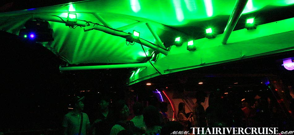 High End Sound System Disco Lightson  Party Boat Chao Phraya river Bangkok,Thailand. Private Cocktail Cruise Bangkok Sunset Night Party Boat including free flow drinks snack buffet