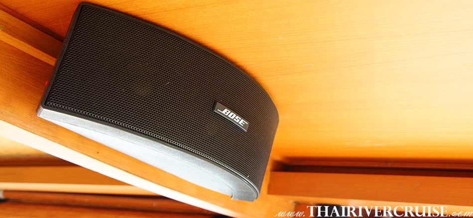 Loud speaker by BOSE on board Boat with Rooms Bangkok Private luxury cruise rice barge 5-star 2 cabin boat on the Chaophraya river Bangkok Thailand, Grand Palace Bangkok with elegance seating and good view on board luxury rice barge