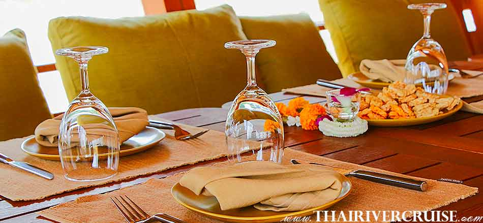 Elegance table setup for VIP.clients on board Boat with Rooms Bangkok Private luxury cruise rice barge 5-star 2 cabin boat on the Chaophraya river Bangkok Thailand,Relaxing on-board Best private luxury rice barge Chao phraya river cruises Bangkok Thailand