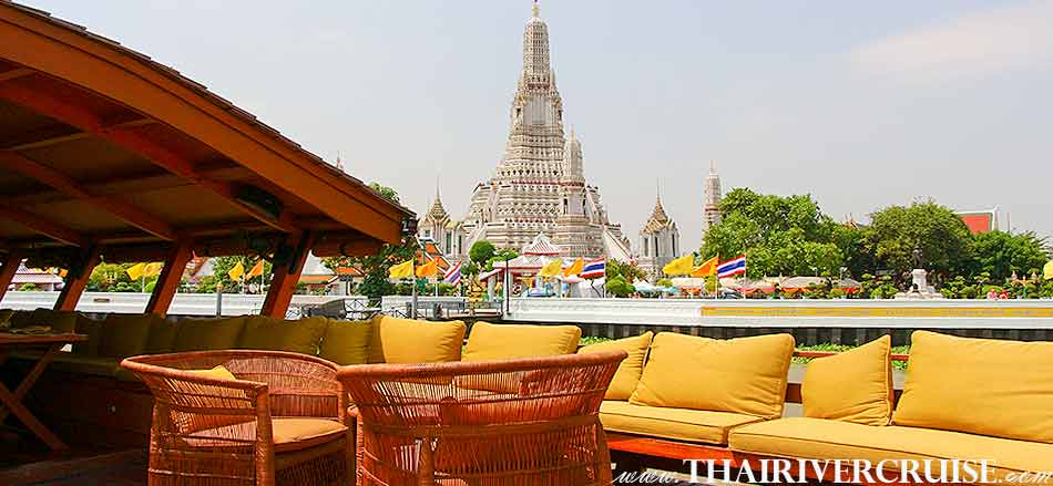 Boat with Rooms Bangkok Private luxury cruise rice barge 5-star 2 cabin boat on the Chaophraya river Bangkok Thailand, Grand Palace Bangkok with elegance seating and good view to see the beautiful Temple of dawn or Wat Arun, this is landmark highlight attraction of Chaophraya river Bangkok,Thailand
