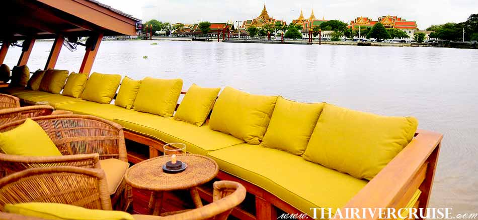 Boat with Rooms Bangkok Private luxury cruise rice barge 5-star 2 cabin boat on the Chaophraya river Bangkok Thailand, Grand Palace Bangkok with elegance seating and good view on board luxury rice barge
