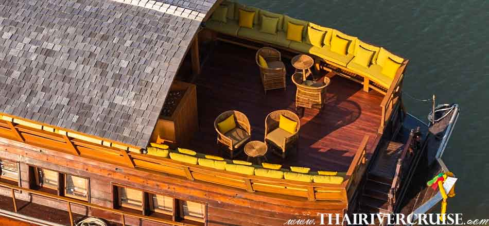 The Private Elegance Luxury Boat with Rooms Bangkok Private luxury cruise rice barge 5-star 2 cabin boat on the Chaophraya river Bangkok Thailand