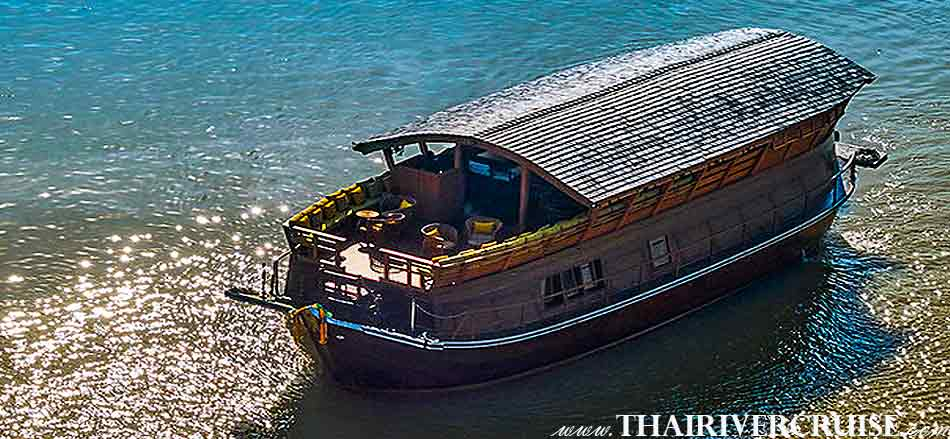 Boat with Rooms Bangkok Private luxury cruise rice barge 5-star 2 cabin boat on the Chaophraya river Bangkok Thailand