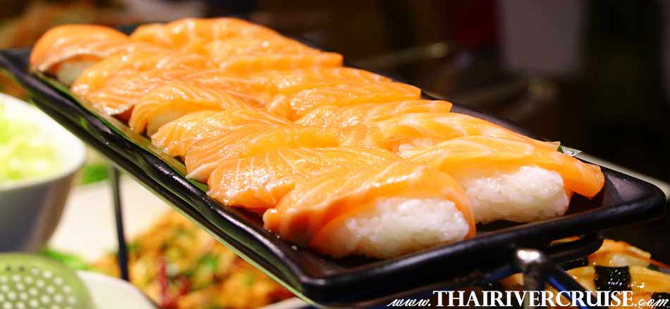 Halal Food Dinner Bangkok Chao Phraya River Cruise for Muslim, Famous dinner cruise in Bangkok and Halal food available for Muslim, Salmon Japanese food International buffet dinner cruise along the Chaphraya river Bangkok Thailand