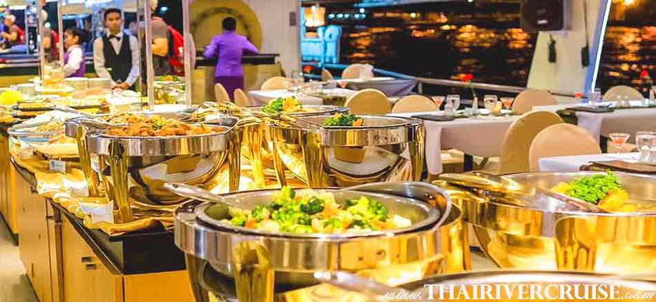 International Buffet and Halal Food Dinner Bangkok Chaophraya River Cruise for Muslim, Famous dinner cruise in Bangkok and Halal food available for Muslim