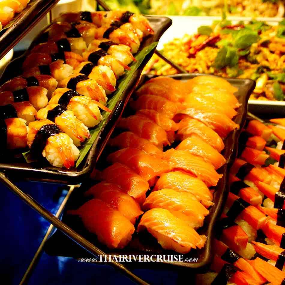 Halal Food Dinner Bangkok Chao Phraya River Cruise for Muslim, Famous dinner cruise in Bangkok and Halal food available for Muslim, Japanese food available