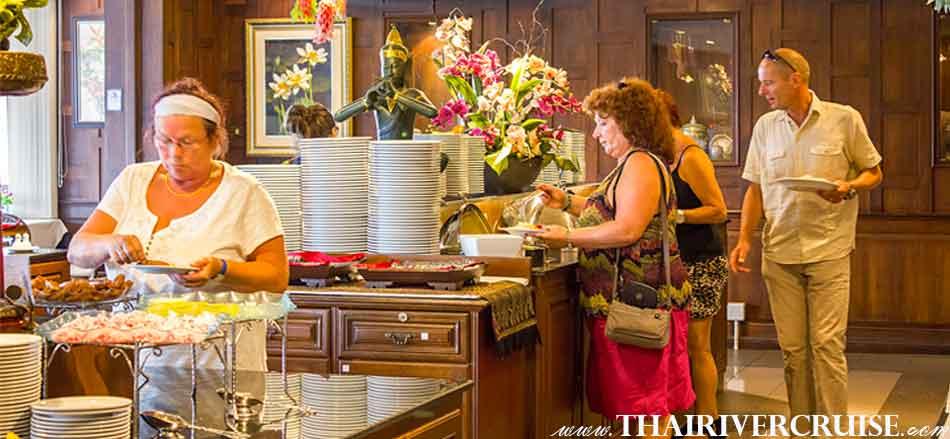 Many menu of buffet lunch at Thai restaurant river side of Chaophraya river Bangkok