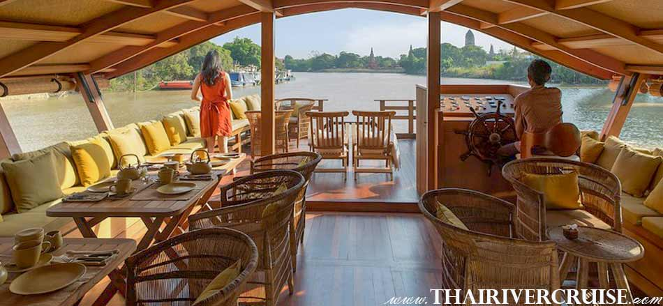On the main upper deck, both open and shaded areas will provide casual lounge style seating and star-lit dining arrangements for an intimate group of only  2 or 4, through to a party of 30 guests ,Best private luxury rice barge Chao phraya river cruises Bangkok Thailand