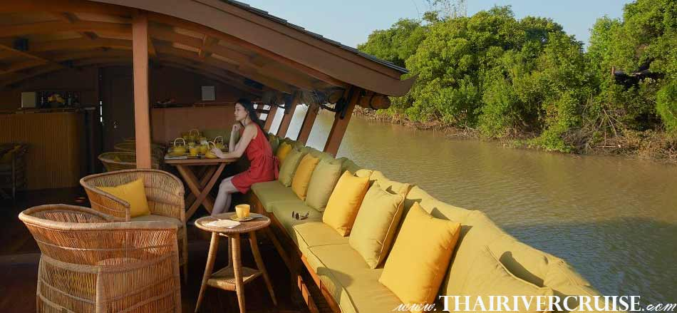 Enjoy to see the river view of the river of king, Best private luxury rice barge Chao phraya river cruises Bangkok Thailand