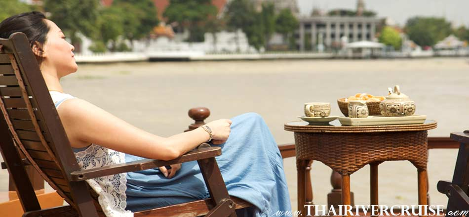 Relaxing on-board Best private luxury rice barge Chao phraya river cruises Bangkok Thailand