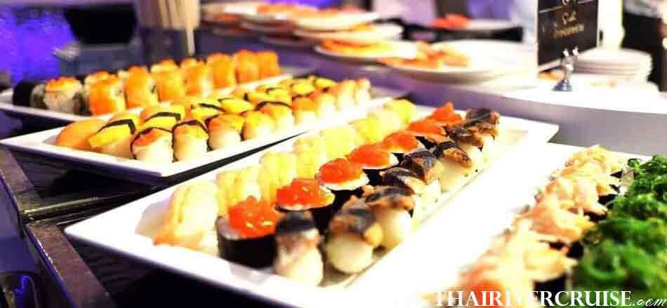 Delicious buffet dinner on Meridian Cruise Bangkok Dinner Cruise Chaophraya River