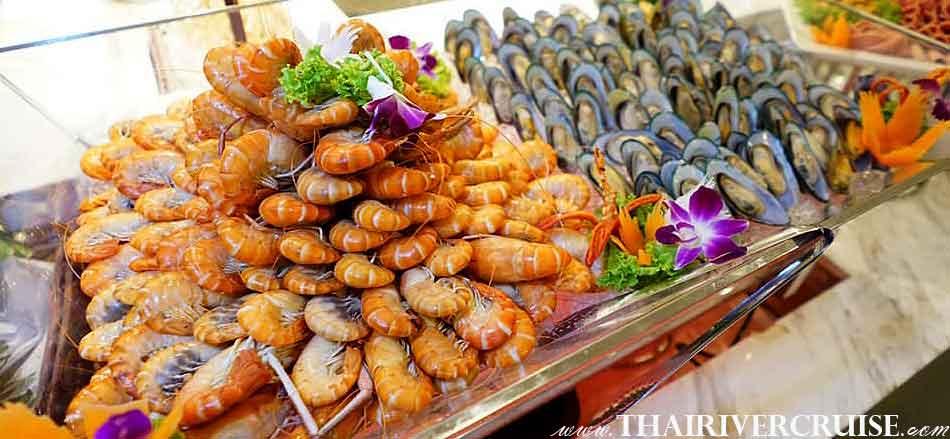 Sea food available on board Meridian Cruise Bangkok Dinner Cruise Chaophraya River