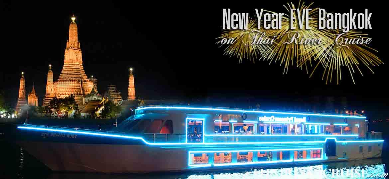 New Year's Eve Bangkok Countdown Royal Princess Cruise Dinner Bangkok Thailand, Royal Princess Cruise Countdown River Cruise on the Chao phraya Rvier  Bangkok Thailand