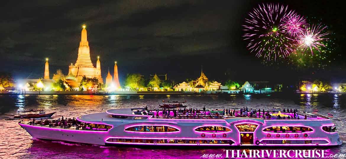 New Year EVE Dinner in Bangkok Wonderful Pearl Cruise The BEST luxury largest elegance 5-star cruise