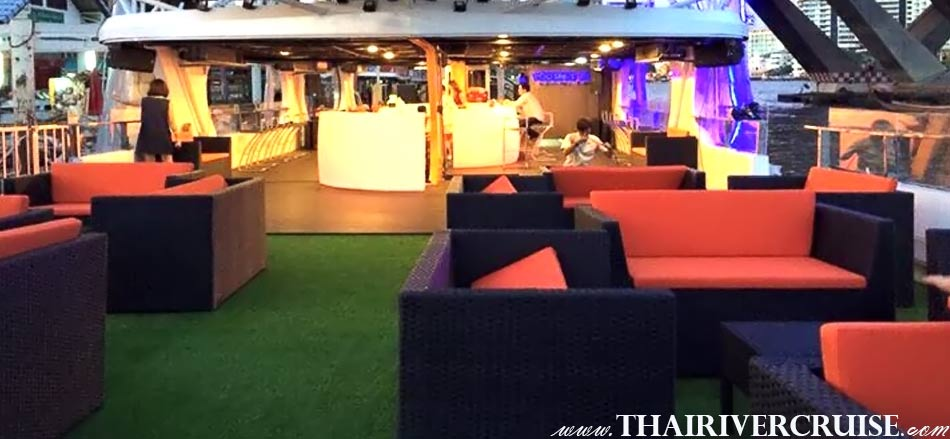 Private Seating onboard Cruise private Bangkok,Best Sundown Party Boat Chao Phraya river Bangkok,Thailand. Private Cocktail Cruise Bangkok Sunset Night Party Boat including free flow drinks snack buffet