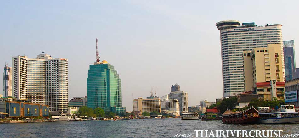 5 Star Hotels along Chao Phraya River Bangkok (โรงแรมหรูระดับ 5 ดาว ริมน้ำเจ้าพระยา ) The beautiful scenery and attraction along the Chaophraya river Bangkok Thailand.Rice Barge Canal Tour Bangkok
