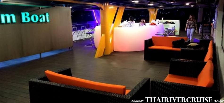 Welcome aboard Bangkok river cruise without dinner Chaophraya River Bangkok Thailand.Chao phraya river cruise without dinner Bangkok Chao phraya night boat