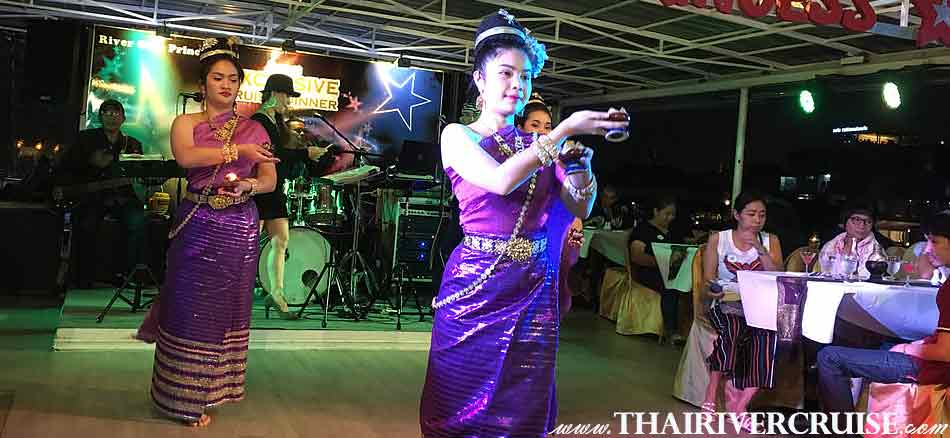 Thai classical dancing show, entertainment on board River Star Princess Cruise Bangkok Thailand by Thai classical dancing and live band music