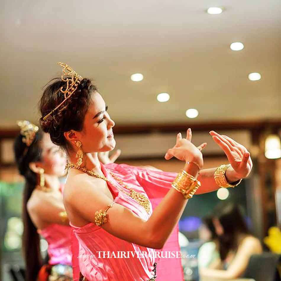 Beautiful Welcome Show by Traditional Thai Dance on board White Orchid River Cruise Bangkok Buffet Dinner Cruise Chao phraya River Bangkok