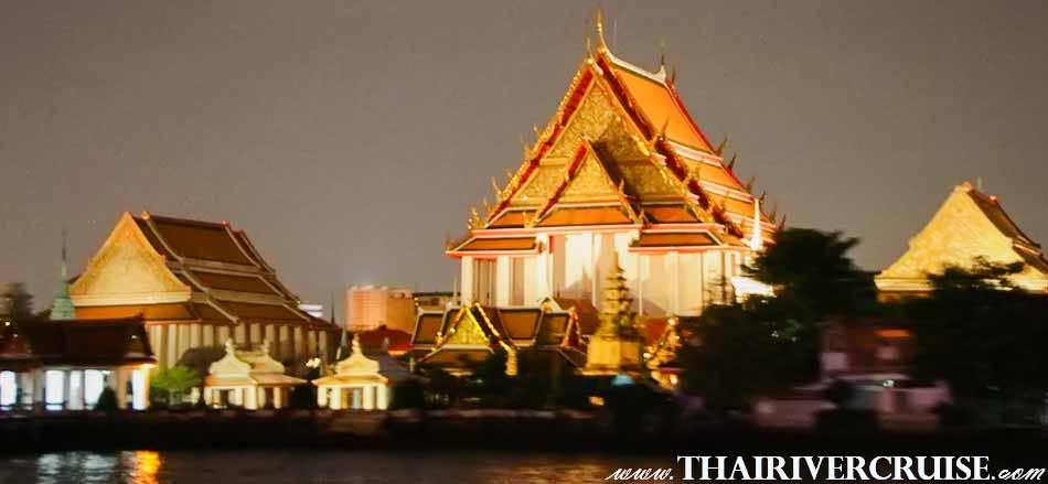 Sunset Cruise Bangkok on the Chaophraya River Thailand, The Sunset Cruise will Passing ; Wat Kalayamit,The Beautiful Night Scenery Along the Chaophraya River Bangkok Thailand sunset dinner cruise Bangkok