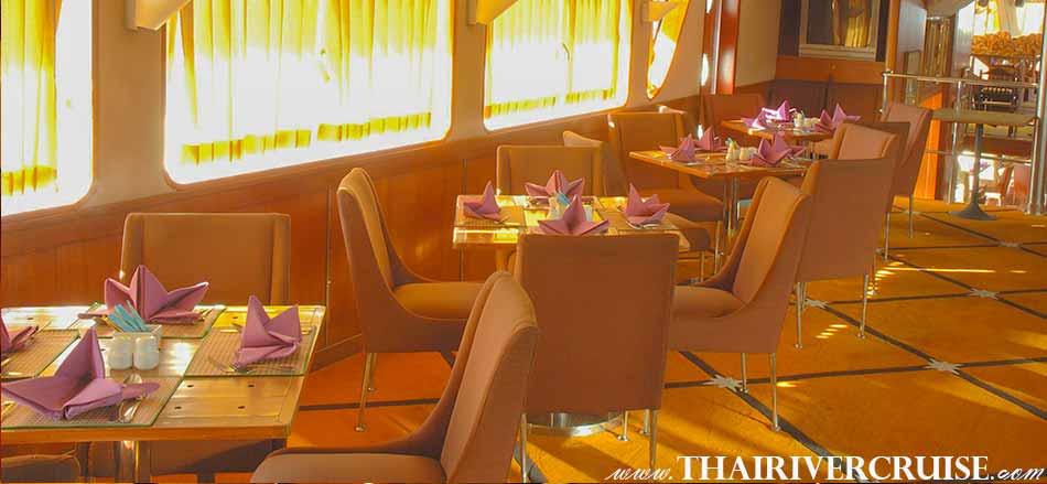 Sunset Cruise Bangkok Grand Pearl Cruise, Duluxe Windows Seat Amazing Sunset & Dinner Cruise by Grand Pearl Cruise along the Chaophraya River Bangkok Thailand. sunset dinner cruise Bangkok