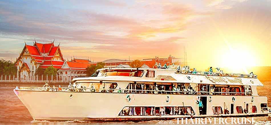 Sunset Cruise Bangkok Grand Pearl Cruise,Amazing Sunset & Dinner Cruise by Grand Pearl Cruise along the Chaophraya River Bangkok Thailand, sunset dinner cruise Bangkok